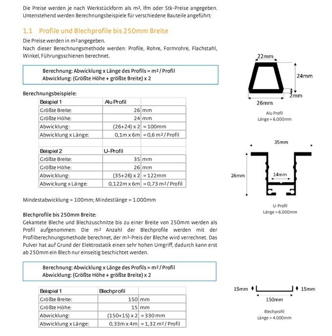 Berechnungsmethoden für die Pulverbeschichtung